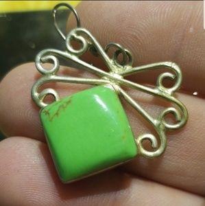Stunning silver & green earrings